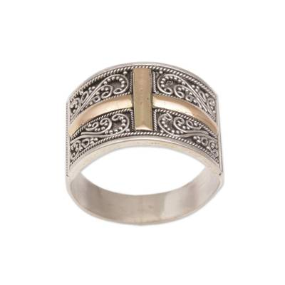 Gold accented sterling silver band ring, 'Holy Light' - Gold Accented Sterling Silver Cross Band Ring