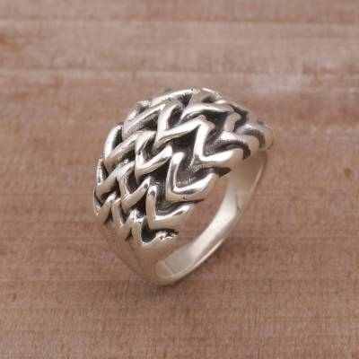 Sterling silver cocktail ring, Chain Stitch