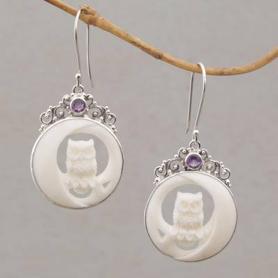 Amethyst and bone dangle earrings, 'Owls on Watch' - Polished Bone Owl Dangle Earrings with Amethysts