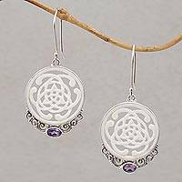 Amethyst and bone dangle earrings, 'Realm of Light' - Celtic Motif Bone Earrings with Amethyst and Silver