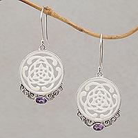 Amethyst and bone dangle earrings, 'Realm of Light'