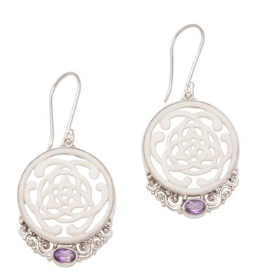 Amethyst and bone dangle earrings, 'Realm of Light' - Celtic Motif Bone Earrings with Amethyst and Silver