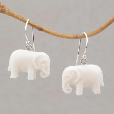 Unicef Market Sleek Cow Bone Carved Elephant Earrings With Silver Hooks White Elephant