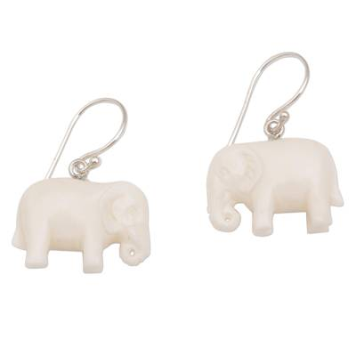 Bone dangle earrings, 'White Elephant' - Sleek Cow Bone Carved Elephant Earrings with Silver Hooks