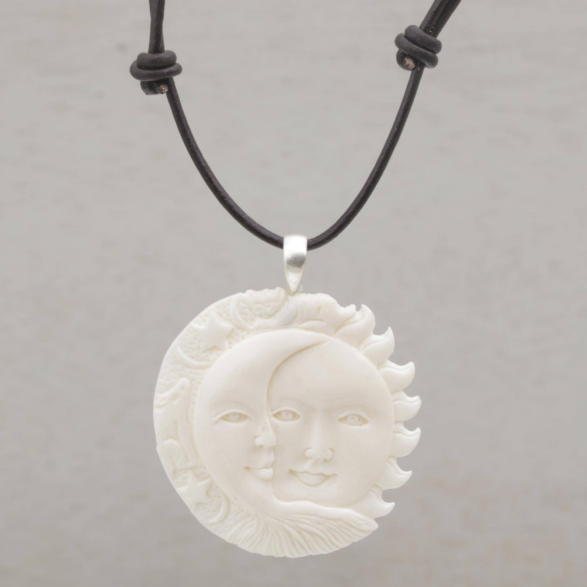 Unicef Market Handcrafted Sun And Moon Bone Pendant Necklace From Bali Stellar Guardians