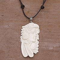 Bone pendant necklace, 'Courageous Woman' - Handcrafted Bird-Themed Bone Pendant Necklace form Bali