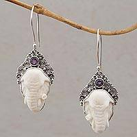 Amethyst and bone dangle earrings, 'Elephant Grandeur' - Amethyst Elephant Dangle Earrings with Carved Bone