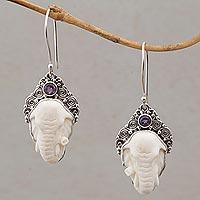 Amethyst and bone dangle earrings, 'Elephant Grandeur'