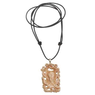 Bone pendant necklace, 'Octopus Refuge' - Handcrafted Bone Octopus Pendant Necklace from Bali