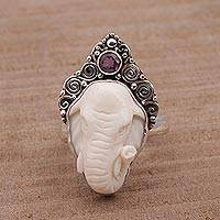 Amethyst and bone cocktail ring, 'Elephant Grandeur' - Polished Sterling Silver Ring with Elephant and Amethyst