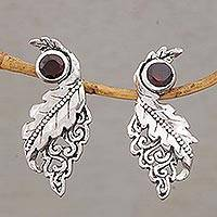 Garnet drop earrings, 'Leaf Majesty' - Leafy Garnet and Sterling Silver Drop Earrings from Bali