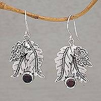 Garnet dangle earrings, 'Ballroom Leaves' - Leafy Garnet and Sterling Silver Dangle Earrings from Bali