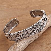 Sterling silver cuff bracelet, 'Majestic Leaves' - Leafy Sterling Silver Cuff Bracelet from Bali