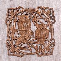 Wood wall relief panel, 'Owl Family Portrait' - Owl Hand Carved Wood Wall Panel from Indonesia