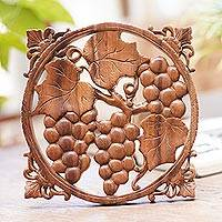 Wood wall relief panel, 'Grape Harvest'