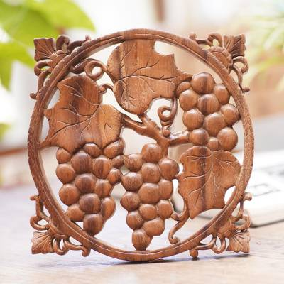 Wood wall relief panel, 'Grape Harvest' - Natural Wood Relief Panel of Bunches of Grapes