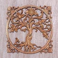 Wood wall relief panel, 'Thorny Thistle' - Floral Wood Wall Relief Panel from Bali Artisan
