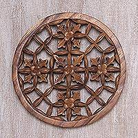 Wood wall relief panel, 'Flower Seeds' - Elegant Round Wood Wall Relief Panel from Bali
