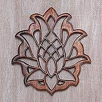 Wood wall relief panel, 'Sacred Pineapple' - Stylized Pineapple Suar Wood Wall Relief Panel