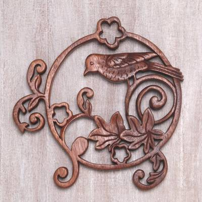 Wood wall relief panel, 'Pigeon Garden' - Round Wood Wall Relief Panel with Bird in Garden