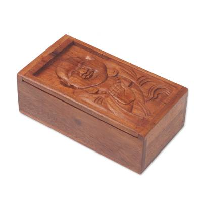 Hand Carved Buddha Themed Wood Box from Bali