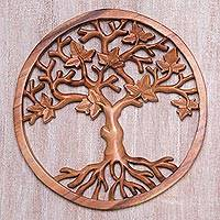Wood wall relief panel, 'Stalwart Tree' - Hand Carved Wood Relief Panel of Sturdy Tree