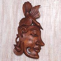 Wood wall sculpture, 'Fly Away Woman' - Surreal Carved Wood Wall Sculpture of Woman and Bird