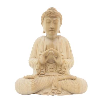 Crocodile wood statuette, 'Gesture of Teaching' - Unique Wood Buddha Sculpture in Vitarka Mudra Pose