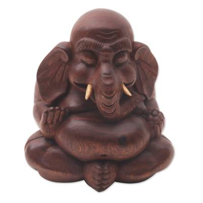 Wood statuette, 'Little Ganesha' - Small Lord Ganesha Carved Wood Statuette