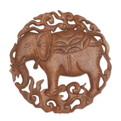 Wood relief panel, 'Palace Elephant' - Elephant Themed Wood Wall Relief Panel
