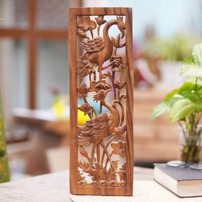 Wood relief panel, 'Wading Birds' - Signed Wood Relief Panel with Wading Bird Scene