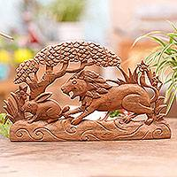 Wood relief panel, 'Hunting Time' - Signed Wood Wall Relief Panel of Lion Chasing Rabbit
