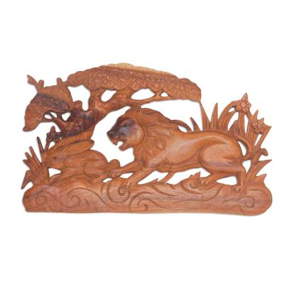 Signed Wood Wall Relief Panel of Lion Chasing Rabbit