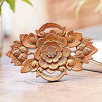 Wood wall relief panel, 'Lotus Crest'