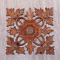 Wood wall relief panel, 'Lotus Shield' - Carved Wood Wall Relief Panel of Lotus Blossom