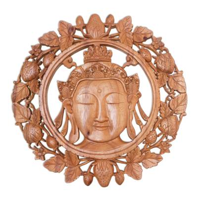 Wood wall relief panel, 'Buddha's Garden' - Detailed Buddha Wall Relief Panel in Hand Carved Wood