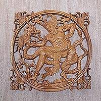 Wood wall relief panel, 'Bima Battle' - Hindu Epic Character Bima of Wood Relief Panel