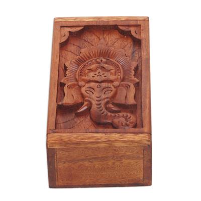 Carved Wood Trinket Box with Ganesha Motif on Lid
