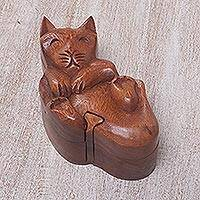 Wood puzzle box, 'Cat at Play' - Playful Cat Carved Suar Wood Puzzle Box