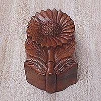 Wood puzzle box, 'Sunflower Secret' - Hand Carved Wood Sunflower Puzzle Box from Bali