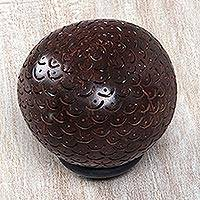 Coconut shell sculpture, 'Scalloped Dome' - Handmade Carved Albesia Wood Coconut Shell Sculpture
