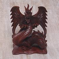 Wood statuette, 'Fierce Dragon' - Detailed Wood Sculpture of Fierce Dragon from Bali
