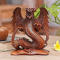 Wood statuette, 'Fierce Dragon'