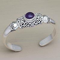 Amethyst cuff bracelet, 'Vine Shrine' - Amethyst Cabochon Cuff Bracelet in Sterling Silver