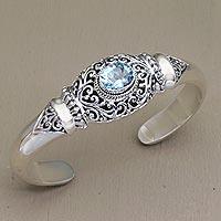 Blue topaz cuff bracelet, 'Vine Temple' - Four Carat Blue Topaz and Silver Cuff Bracelet