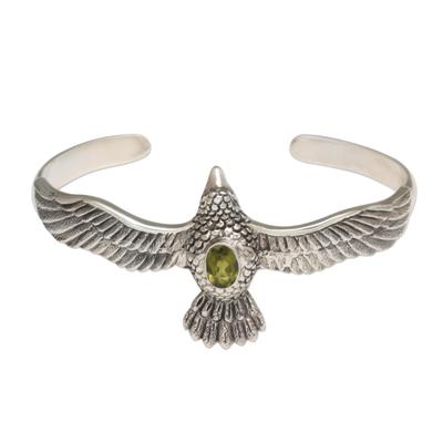 Peridot cuff bracelet, 'Spirit Hawk' - Peridot Hawk Motif Cuff Bracelet in Sterling Silver
