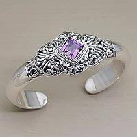 Amethyst cuff bracelet, 'Diamond Temple' - Four Carat Amethyst and Sterling Silver Cuff Bracelet