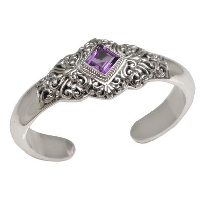 Amethyst cuff bracelet, 'Diamond Temple' - Four Carat Amethyst and Sterling Silver Cuff Bracelet