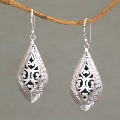 Sterling silver dangle earrings, 'Love of My Life' - Openwork Sterling Silver Dangle Earrings from Bali