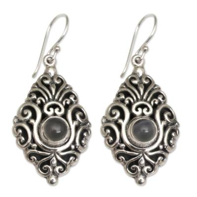 Moonstone Dangle Earrings with Ornate Sterling Silver